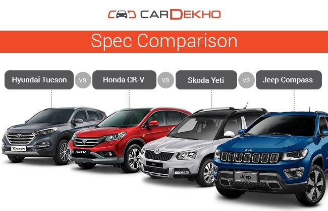 Jeep compass vs hyundai tucson vs honda cr v vs skoda yeti for Jeep compass vs honda crv