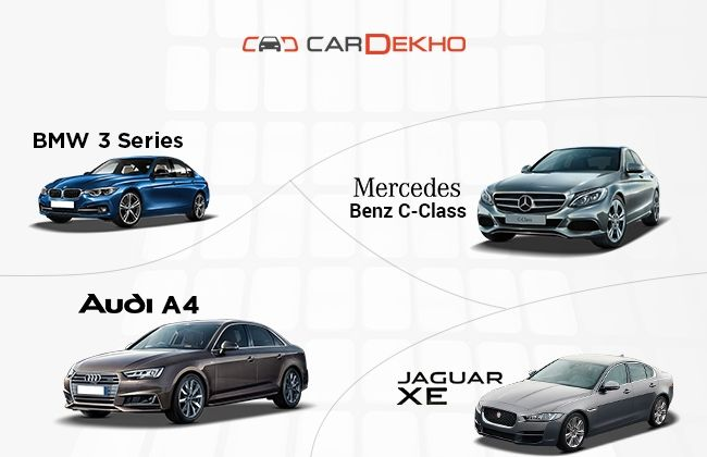 bmw 3 series vs mercedes benz c class vs audi a4 vs jaguar xe petrol spec comparison. Black Bedroom Furniture Sets. Home Design Ideas