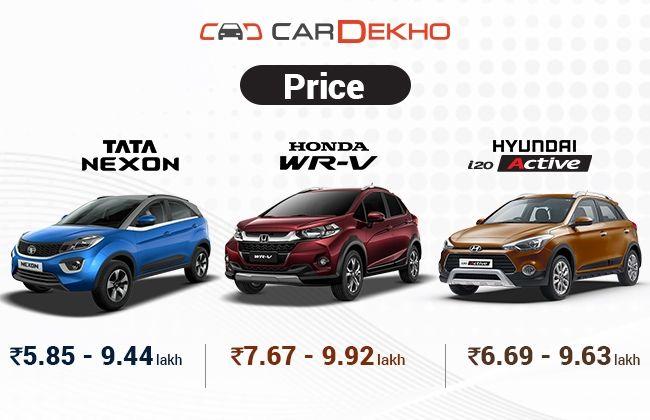 Tata Nexon Vs Honda WR-V Vs Hyundai i20 Active – Spec Comparo