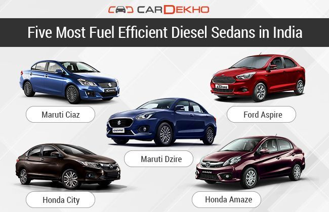 five most fuel efficient diesel sedans in india features. Black Bedroom Furniture Sets. Home Design Ideas